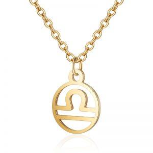 Collier signe astrologique Balance or