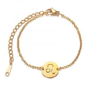 bracelet signe astrologique lion or