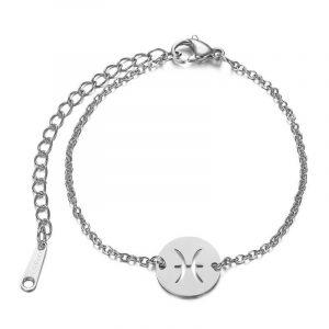bracelet signe astrologique poisson argent