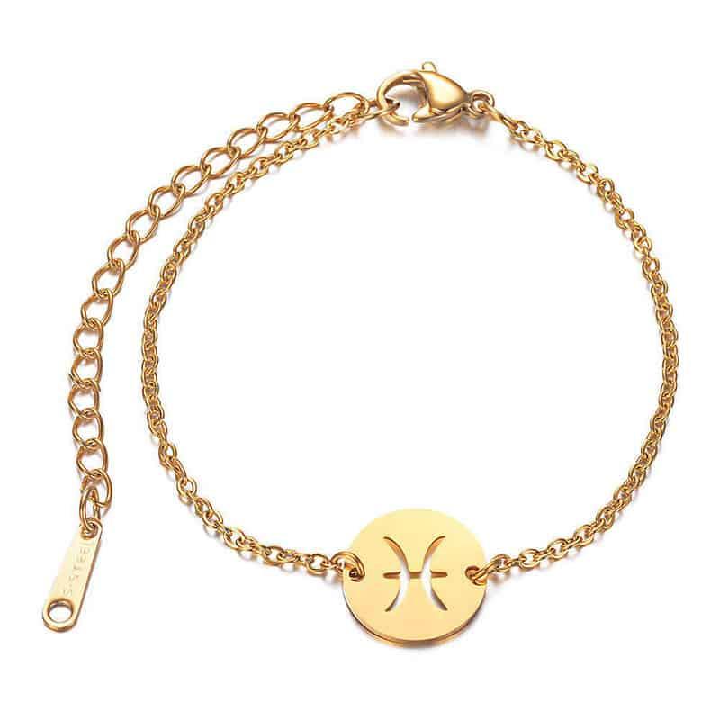 bracelet signe astrologique poisson or