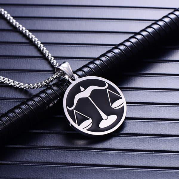 Collier pendentif signe astrologique balance homme argent