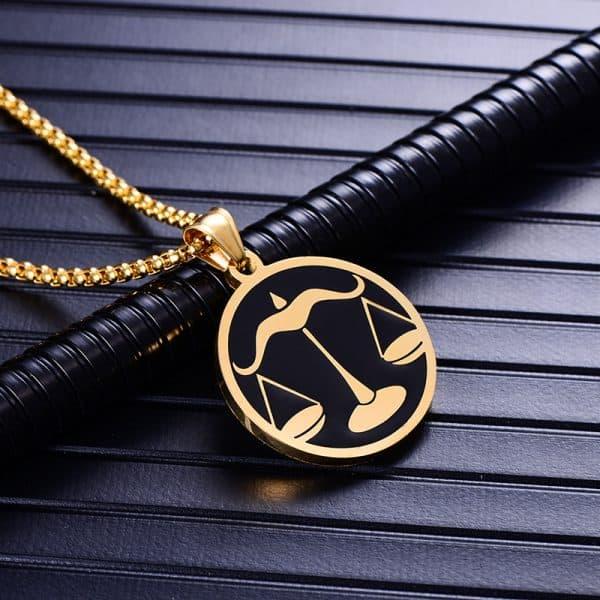 Collier pendentif signe astrologique balance homme or