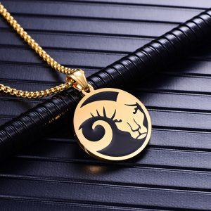 Collier pendentif signe astrologique bélier homme or
