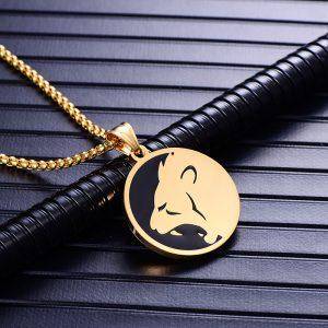 Collier pendentif signe astrologique lion homme or