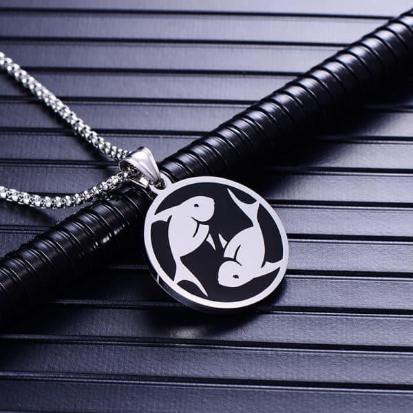 Collier pendentif signe astrologique poisson homme argent