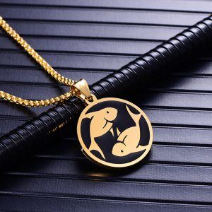 Collier pendentif signe astrologique poisson homme or