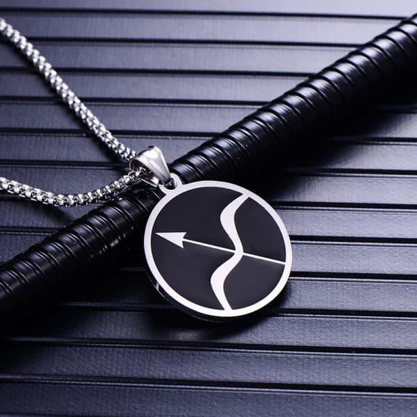 Collier pendentif signe astrologique sagittaire homme argent