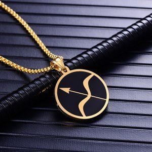 Collier pendentif signe astrologique sagittaire homme or