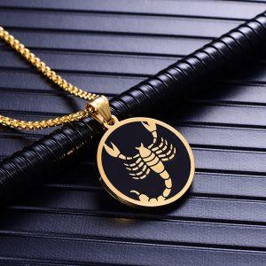 Collier pendentif signe astrologique scorpion homme or