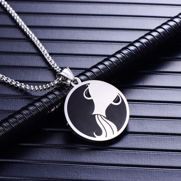 Collier pendentif signe astrologique verseau homme argent