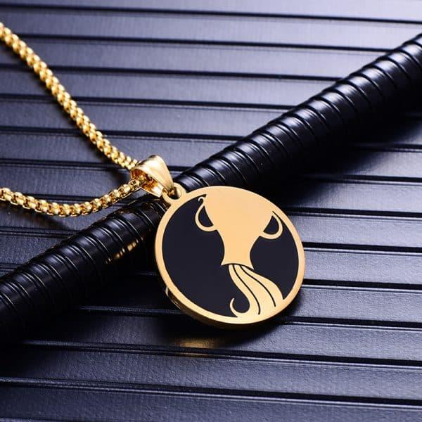 Collier pendentif signe astrologique verseau homme or