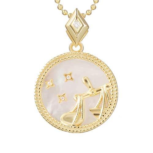 collier signe astro balance femme or et argent
