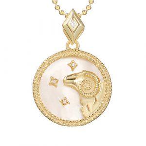collier signe astro bélier femme or et argent