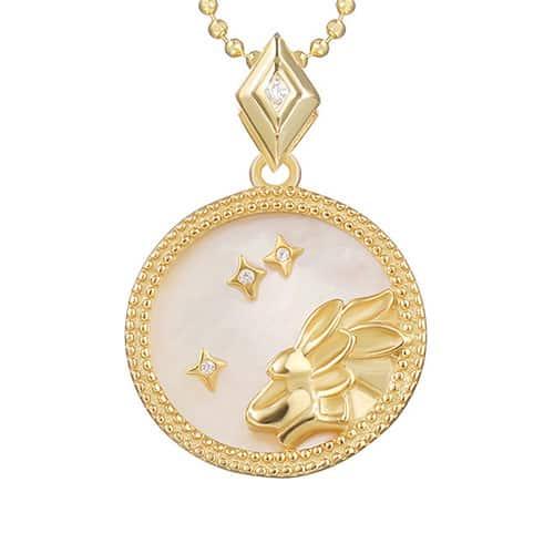 collier signe astro lion femme or et argent