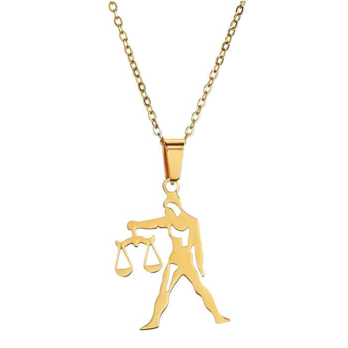 collier signe astrologique or balance