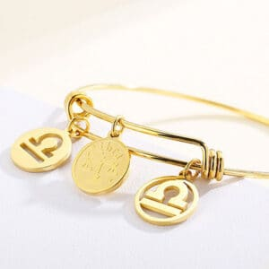 bracelet balance signe astrologique or