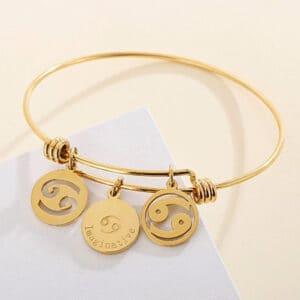 bracelet cancer signe astrologique or