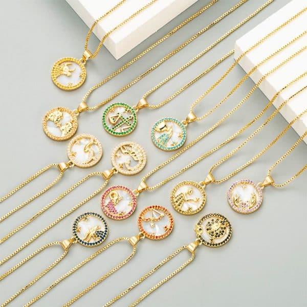 collier femme signe astrologique or