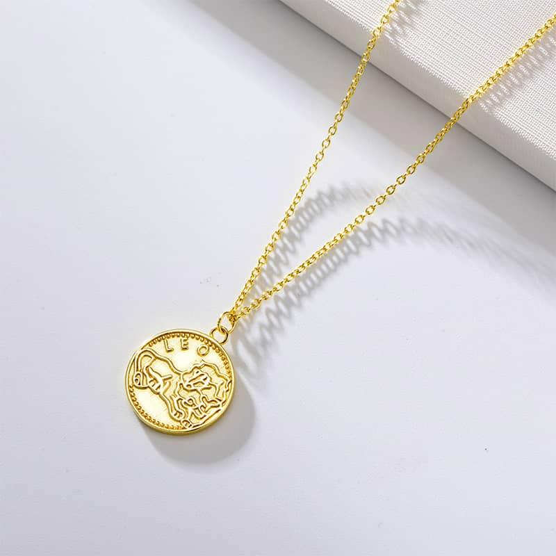 collier signe astrologique lion plaque or