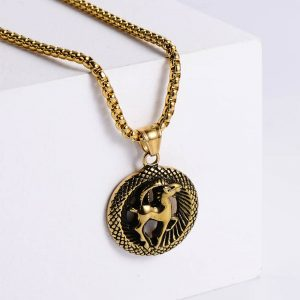 pendentif signe astrologique capricorne or